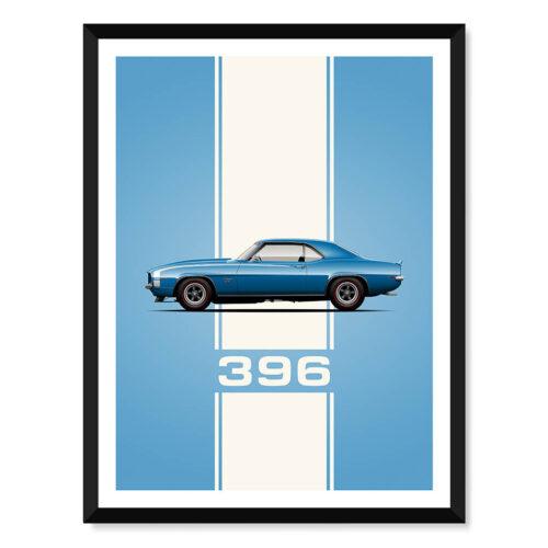 Chevrolet Camaro 396 - Car Poster - Art Print - Rear View Prints