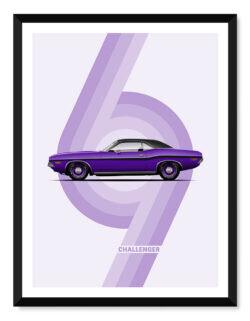 Dodge Challenger - Car Poster - Art Print - Rear View Prints