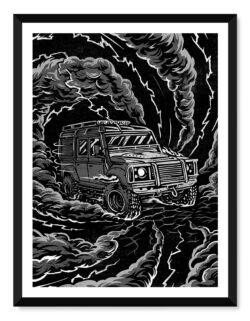 Land Rover Defender • Car Poster • Art Print • Rear View Prints