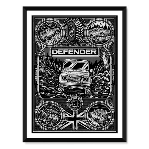 Land Rover Defender • Car Poster • Art Print • Rear View Prints