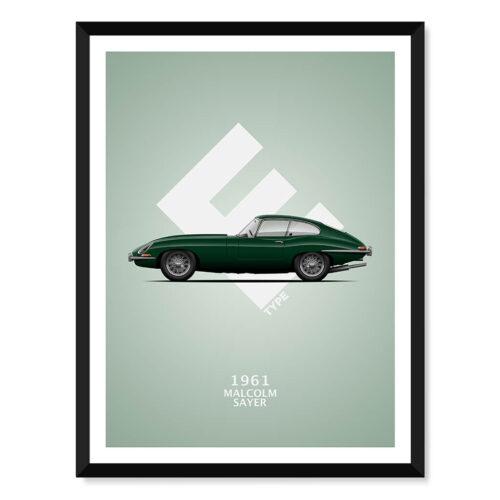 Malcolm Sayers E-Type - Car Poster - Art Print - Rear View Prints