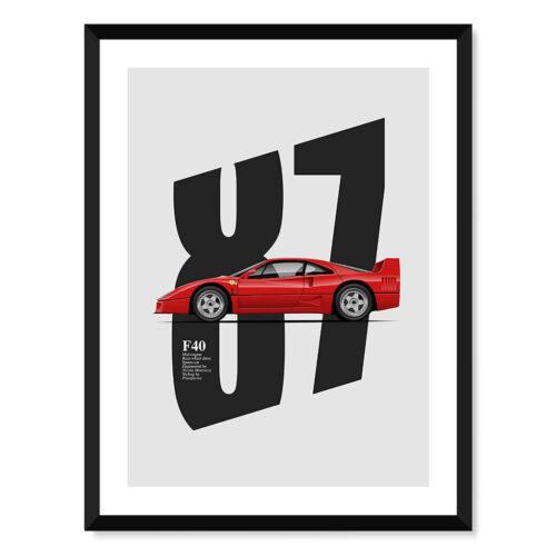 Ferrari F40 - Car Poster - Art Print - Rear View Prints