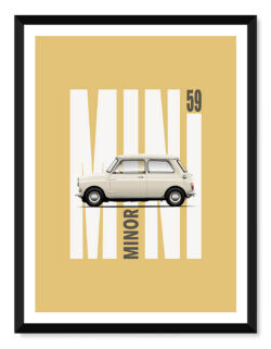 Morris Mini Minor • Car Poster • Art Print • Rear View Prints