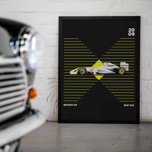Brawn BGP 001 F1 Car Poster Art Print - Rear View Prints