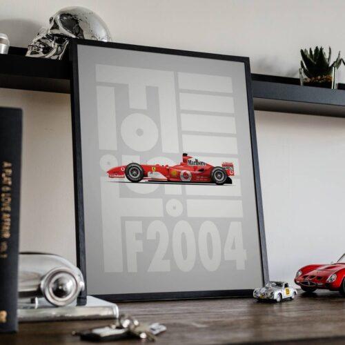 Ferrari F2004 F1 Poster Art Print - Rear View Prints
