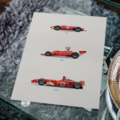 Ferrari F56 312T F2004 Poster F1 Car Poster Art Print Rear View Prints