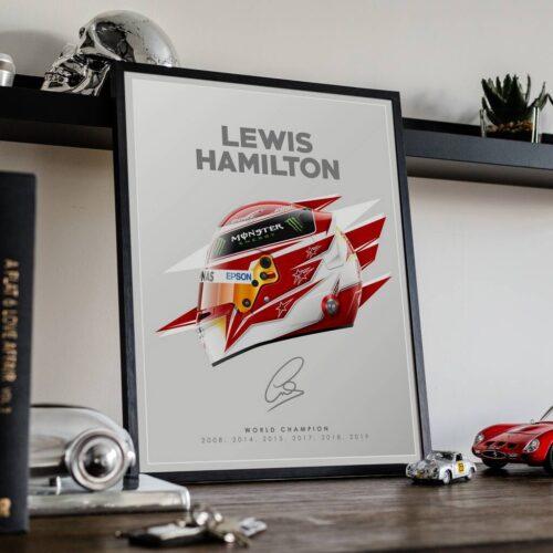 Lewis Hamilton Helmet F1 Poster Art Print - Rear View Prints