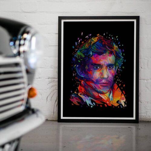Ayrton Senna - Portrait Poster - Art Print - Rear View Prints