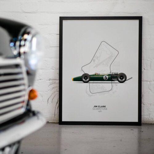 Lotus 49 Jim Clark Silverstone F1 Car Poster Art Print - Rear View Prints