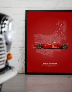 Ferrari F310 Michael Schumacher Spa F1 Car Poster Art Print - Rear View Prints