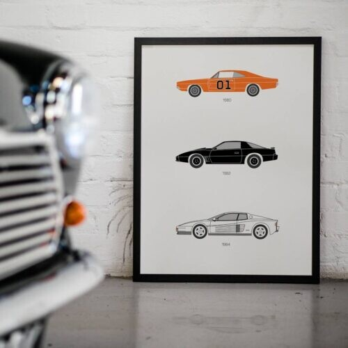 80s TV Car Poster Art Print - Rear View Prints