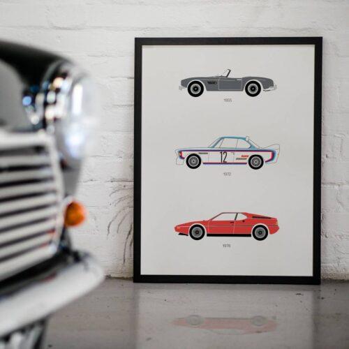 BMW Car Poster Art Print - Rear View Prints