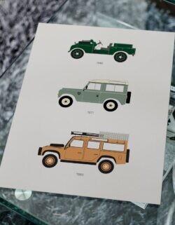 Land Rover Defender Car Poster Art Print - Rear View Prints