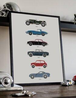 British Movie Cars Print Art Poster - Rear View Prints