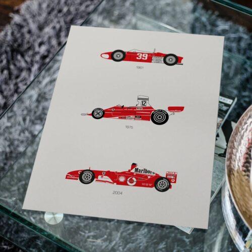 Ferrari F1 Car Poster Art Print - Rear View Prints