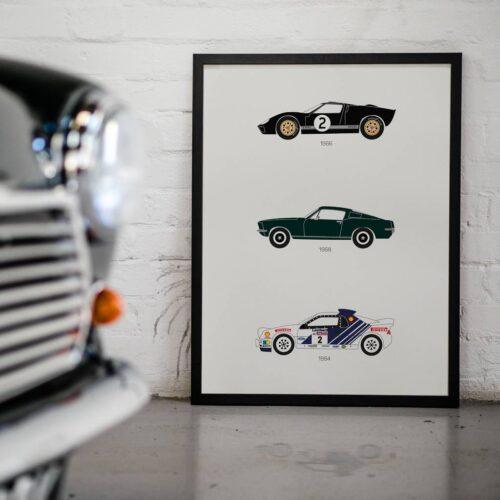 Ford - Car Poster - Art Print - Rear View Prints