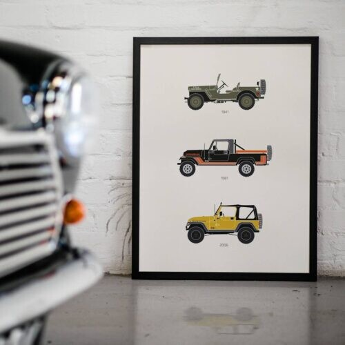 Jeep - Car Poster - Art Print - Rear View Prints