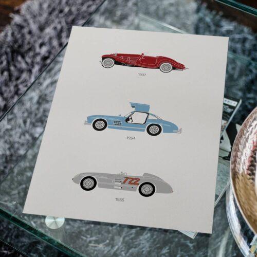 Mercedes Car Print - Classic Art Poster - Rear View Prints