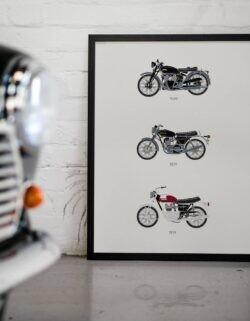 Classic British Motorbikes Art Poster - Rear View Prints