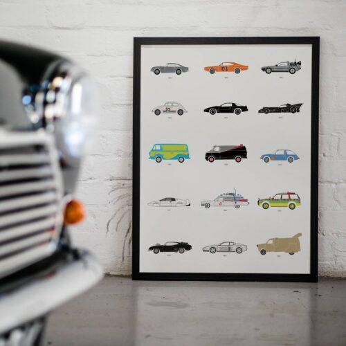 Movie Cars - Car Poster - Art Print - Rear View Prints