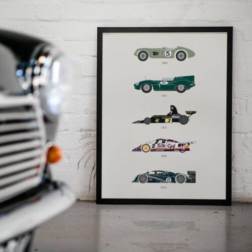 Classic Britain Race Cars Poster - Art Print - Rear View Prints