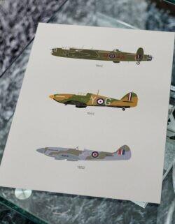 British Warplanes - Poster - Art Print - Rear View Prints