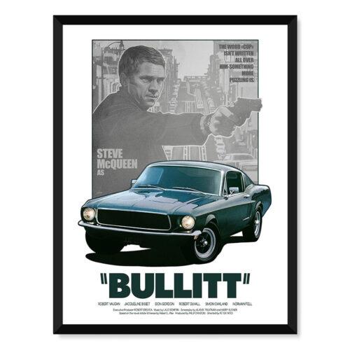 Steve McQueen's Bullitt - Car Poster - Art Print - Rear View Prints