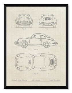 Porsche 356 Coupe Patent - Car Poster - Art Print - Rear View Prints
