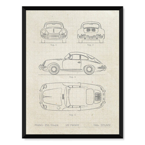 Porsche 356 Coupe Patent - Car Poster - Art Print - Rear View Prints
