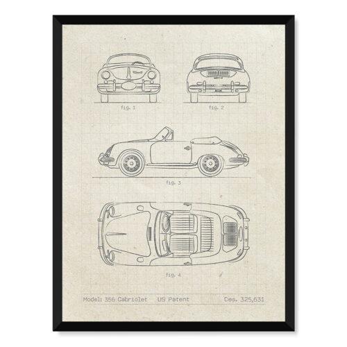 Porsche 356 Cabriolet - Car Poster - Art Print - Rear View Prints