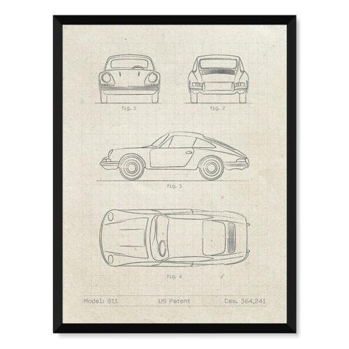 Porsche 911 - Car Patent Poster - Art Print - Rear View Prints