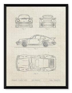 Porsche Turbo 930 - Car Patent Poster - Art Print - Rear View Prints