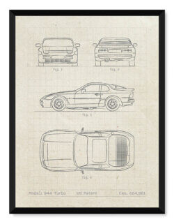 Porsche 944 • Car Patent Poster • Art Print • Rear View Prints