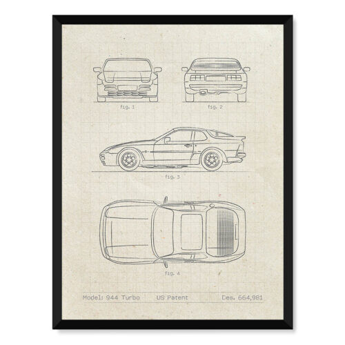 Porsche 944 • Car Patent Poster • Art Print • Rear View Prints