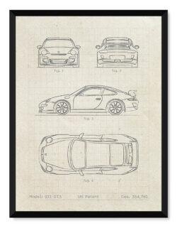 Porsche GT3 Patent - Car Poster - Art Print - Rear View Prints