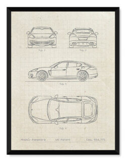 Porsche Panamera Patent - Car Poster - Art Print - Rear View Prints