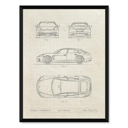 Porsche Panamera Patent - Car Poster - Art Print - Rear View Prints