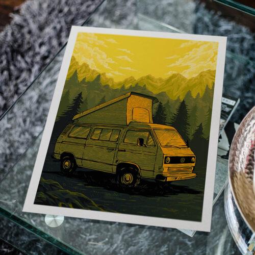 Volkswagen Van • Car Poster • Art Print • Rear View Prints