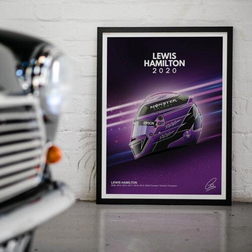 Lewis Hamilton • Helmet Poster • F1 Art Print • Rear View Prints