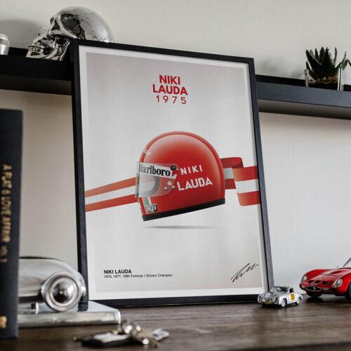 Niki Lauda Helmet Poster • F1 Poster Art Print • Rear View Prints