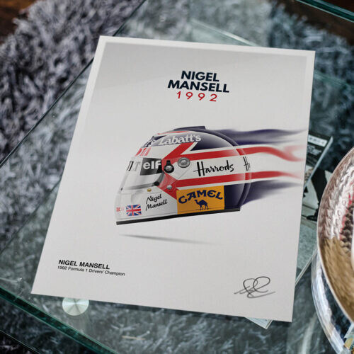 Nigel Mansell • Helmet Poster • F1 Art Print • Rear View Prints