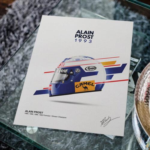 Alain Prost • Helmet Poster • F1 Art Print • Rear View Prints