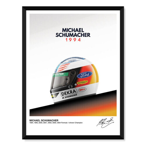 Michael Schumacher • Helmet Poster • F1 Art Print • Rear View Prints