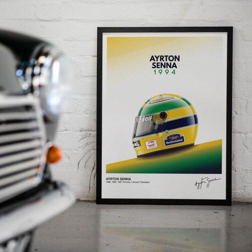 Beco's Helmet Senna Poster • F1 Poster Art Print • Rear View Prints