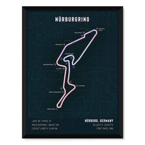Green Means Danger • Nurburgring Track Art Poster • Rear View Prints