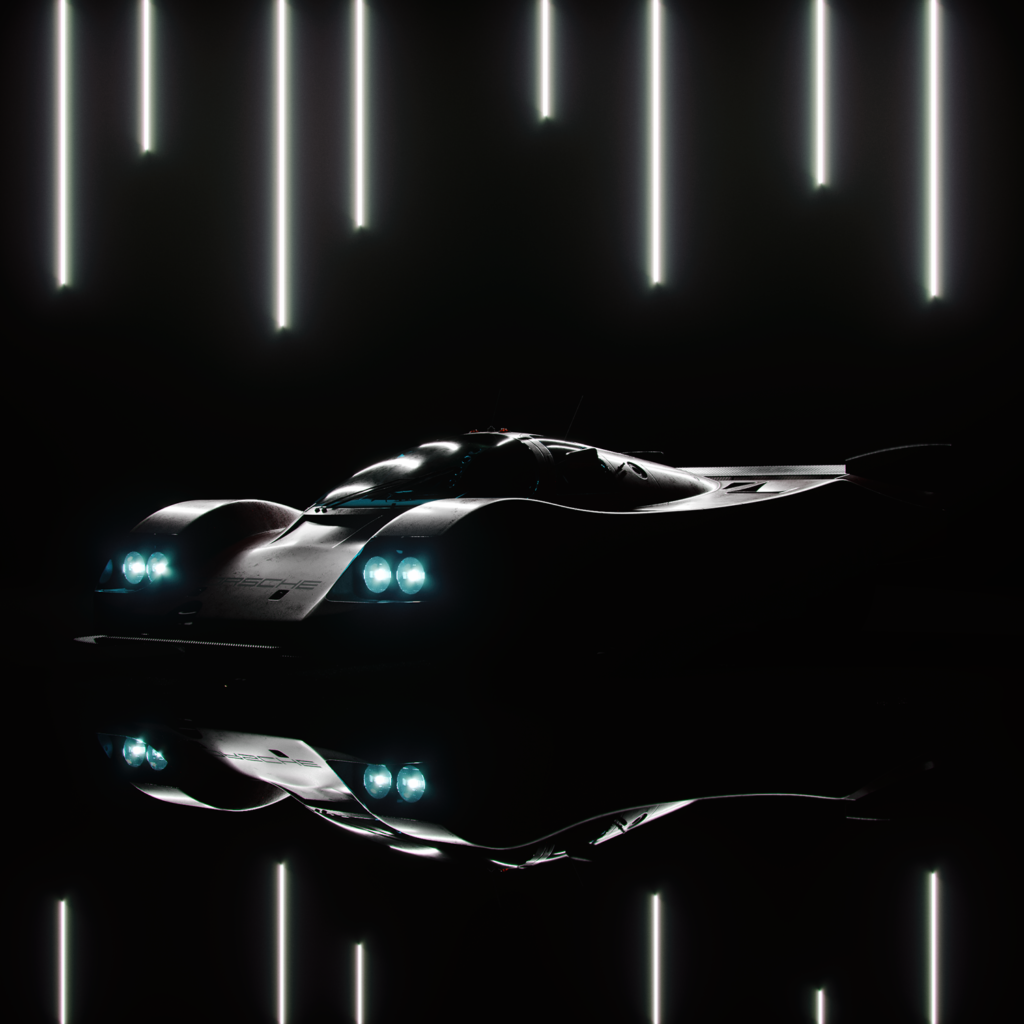 a dark shadowy showcase of the graphic design car reveal of the porsche 917k