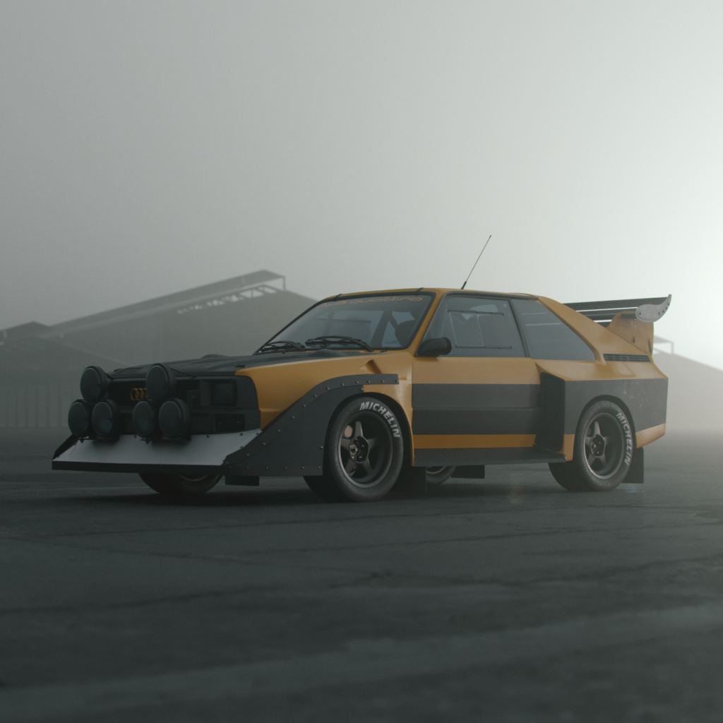 replication of an old audi s3, featured in a dark background