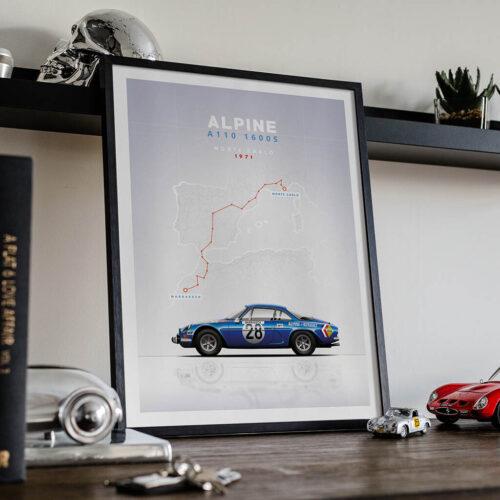Alpine A110 Poster Art Print • Rear View Prints