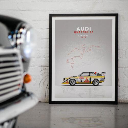 Audi Sport Quattro S1 - Car Poster - Art Print - Rear View Prints