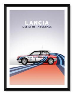Lancia Delta - Car Poster - Art Print - Rear View Prints